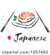 Clipart Of Salmon Sushi With Chopsticks And Japanese Text Royalty Free Vector Illustration