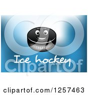 Clipart Of A Grinning Hockey Puck Over Text On Blue Royalty Free Vector Illustration