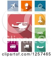 Clipart Of White Transportation Icons Over Colorful Tiles Royalty Free Vector Illustration