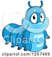 Clipart Of A Cute Blue Caterpillar Royalty Free Vector Illustration by Seamartini Graphics