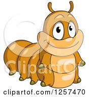 Clipart Of A Cute Brown Caterpillar Royalty Free Vector Illustration by Seamartini Graphics