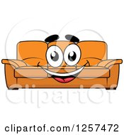 Clipart Of A Happy Orange Couch Royalty Free Vector Illustration by Vector Tradition SM