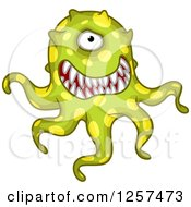 Clipart Of A Tentacled Green Monster Germ Alien Or Virus Royalty Free Vector Illustration