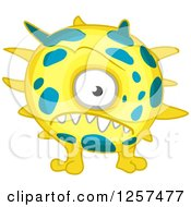 Clipart Of A Spiked Yellow Monster Germ Alien Or Virus Royalty Free Vector Illustration by Seamartini Graphics