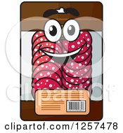 Clipart Of A Happy Package Of Salami Royalty Free Vector Illustration by Seamartini Graphics