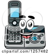 Clipart Of A Happy Cordless Telephone Character Royalty Free Vector Illustration by Seamartini Graphics