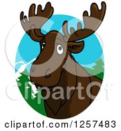 Clipart Of A Happy Cartoon Moose In A Forest Oval Royalty Free Vector Illustration