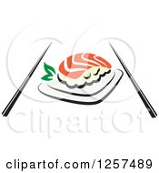 Clipart Of Salmon Sushi With Chopsticks Royalty Free Vector Illustration by Seamartini Graphics