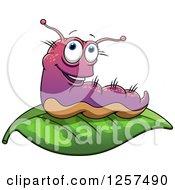Clipart Of A Purple Slug On A Leaf Royalty Free Vector Illustration by Seamartini Graphics