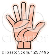Clipart Of A Counting Hand Holding Up 5 Fingers Five In Sign Language Royalty Free Vector Illustration