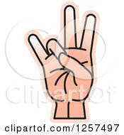 Clipart Of A Counting Hand Holding Up 7 Fingers Seven In Sign Language Royalty Free Vector Illustration by Lal Perera