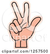 Clipart Of A Counting Hand Holding Up 3 Fingers Three In Sign Language Royalty Free Vector Illustration