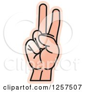 Clipart Of A Sign Language Hand Gesturing Letter V Royalty Free Vector Illustration