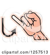 Clipart Of A Sign Language Hand Gesturing Letter J Royalty Free Vector Illustration by Lal Perera