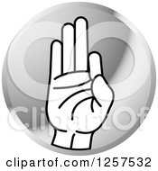 Clipart Of A Silver Icon Of A Sign Language Hand Gesturing Letter F Royalty Free Vector Illustration