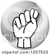 Clipart Of A Silver Icon Of A Sign Language Hand Gesturing Letter T Royalty Free Vector Illustration