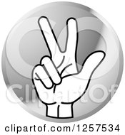Clipart Of A Round Silver Icon Of A Counting Hand Holding Up 3 Fingers Three In Sign Language Royalty Free Vector Illustration