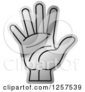 Clipart Of A Silver Counting Hand Holding Up 5 Fingers Five In Sign Language Royalty Free Vector Illustration