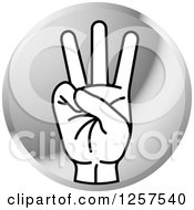 Clipart Of A Round Silver Icon Of A Counting Hand Gesturing Six In Sign Language Royalty Free Vector Illustration