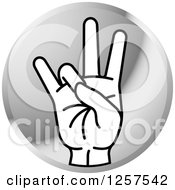 Clipart Of A Round Silver Icon Of A Counting Hand Holding Up 7 Fingers Seven In Sign Language Royalty Free Vector Illustration