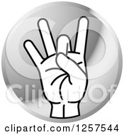 Clipart Of A Round Silver Icon Of A Counting Hand Holding Up 8 Fingers Eight In Sign Language Royalty Free Vector Illustration