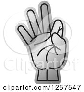 Clipart Of A Silver Counting Hand Holding Up 9 Fingers Nine In Sign Language Royalty Free Vector Illustration by Lal Perera
