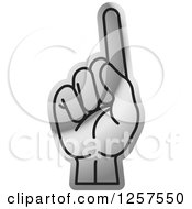 Clipart Of A Silver Counting Hand Holding Up One Finger 1 In Sign Language Royalty Free Vector Illustration