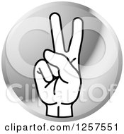 Clipart Of A Round Silver Icon Of A Counting Hand Holding Up Two Fingers 2 In Sign Language Royalty Free Vector Illustration by Lal Perera