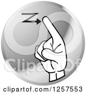 Clipart Of A Silver Icon Of A Sign Language Hand Gesturing Letter Z Royalty Free Vector Illustration