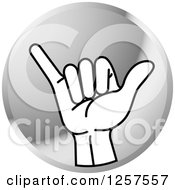 Clipart Of A Silver Icon Of A Sign Language Hand Gesturing Letter Y Royalty Free Vector Illustration