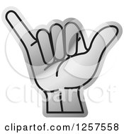 Clipart Of A Silver Sign Language Hand Gesturing Letter Y Royalty Free Vector Illustration
