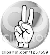 Clipart Of A Silver Icon Of A Sign Language Hand Gesturing Letter V Royalty Free Vector Illustration