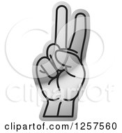 Clipart Of A Silver Sign Language Hand Gesturing Letter V Royalty Free Vector Illustration