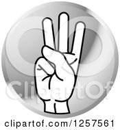 Clipart Of A Silver Icon Of A Sign Language Hand Gesturing Letter W Royalty Free Vector Illustration by Lal Perera