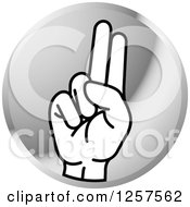 Clipart Of A Silver Icon Of A Sign Language Hand Gesturing Letter U Royalty Free Vector Illustration