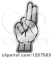 Clipart Of A Silver Sign Language Hand Gesturing Letter U Royalty Free Vector Illustration