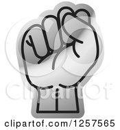 Clipart Of A Silver Sign Language Hand Gesturing Letter S Royalty Free Vector Illustration