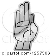 Clipart Of A Silver Sign Language Hand Gesturing Letter F Royalty Free Vector Illustration