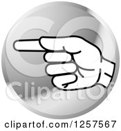 Clipart Of A Silver Icon Of A Sign Language Hand Gesturing Letter G Royalty Free Vector Illustration