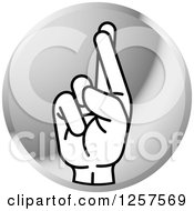 Clipart Of A Silver Icon Of A Sign Language Hand Gesturing Letter R Royalty Free Vector Illustration