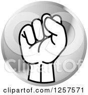 Clipart Of A Silver Icon Of A Sign Language Hand Gesturing Letter S Royalty Free Vector Illustration