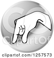 Clipart Of A Silver Icon Of A Sign Language Hand Gesturing Letter Q Royalty Free Vector Illustration