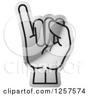 Clipart Of A Silver Sign Language Hand Gesturing Letter I Royalty Free Vector Illustration