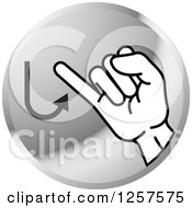 Clipart Of A Silver Icon Of A Sign Language Hand Gesturing Letter J Royalty Free Vector Illustration