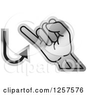 Clipart Of A Silver Sign Language Hand Gesturing Letter J Royalty Free Vector Illustration