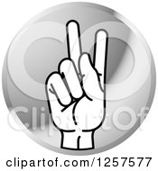 Clipart Of A Silver Icon Of A Sign Language Hand Gesturing Letter K Royalty Free Vector Illustration