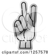 Clipart Of A Silver Sign Language Hand Gesturing Letter K Royalty Free Vector Illustration