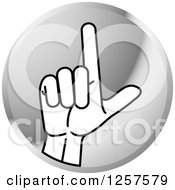 Clipart Of A Silver Icon Of A Sign Language Hand Gesturing Letter L Royalty Free Vector Illustration