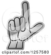 Clipart Of A Silver Sign Language Hand Gesturing Letter L Royalty Free Vector Illustration
