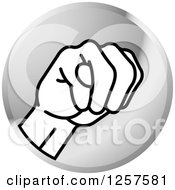 Clipart Of A Silver Icon Of A Sign Language Hand Gesturing Letter M Royalty Free Vector Illustration